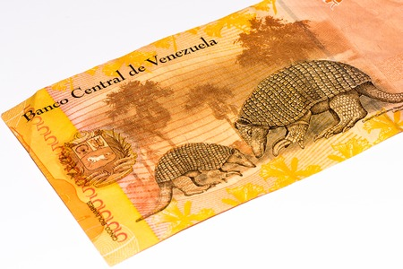 venezuelan: 5 Venezuelan bolivares bank note. Bolivares fuertes is national currency of Brasil Stock Photo