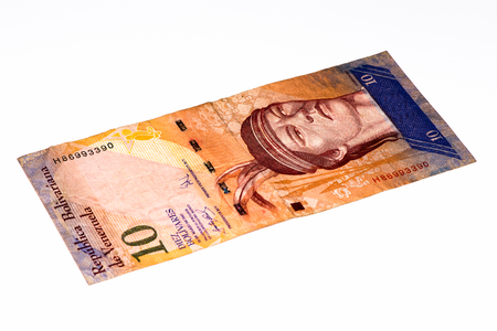 venezuelan: 10 Venezuelan bolivares bank note. Bolivares fuertes is national currency of Brasil Stock Photo