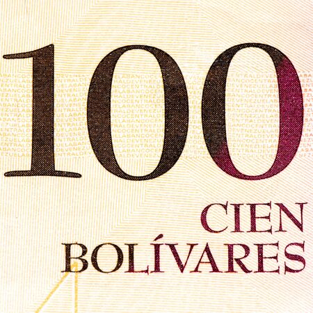 venezuelan: 100 Venezuelan bolivares bank note. Bolivares fuertes is national currency of Brasil