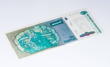 signo de pesos: 1 billete de banco argentino austral. austral argentino es la moneda anterior de Argentina