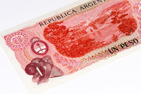 peso: 1 Argentinian peso bank note. Argentinian peso is the national currency of Argentina
