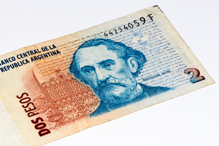peso: 2 Argentinian peso bank note. Argentinian peso is the national currency of Argentina Stock Photo
