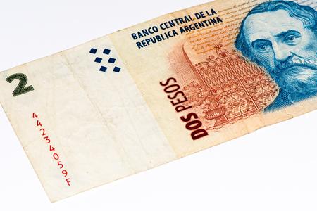 signo de pesos: 2 billetes de banco peso argentino. peso argentino es la moneda nacional de Argentina