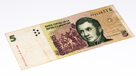 peso: 5 Argentinian peso bank note. Argentinian peso is the national currency of Argentina