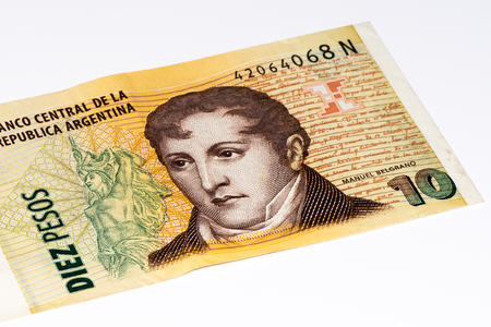 10 Argentinian peso bank note. Argentinian peso is the national currency of Argentina Stock Photo