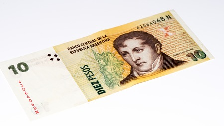 peso: 10 Argentinian peso bank note. Argentinian peso is the national currency of Argentina Stock Photo