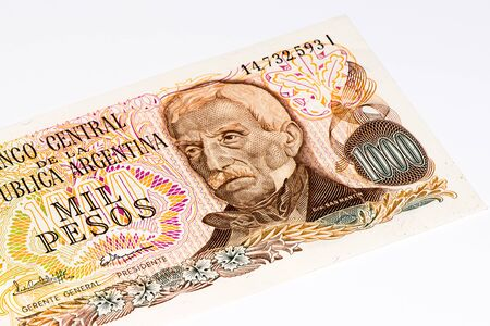 1000 Argentinian peso bank note. Argentinian peso is the national currency of Argentina