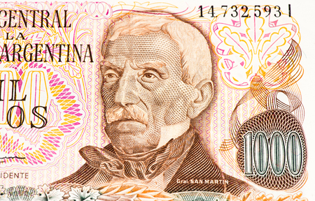 peso: 1000 Argentinian peso bank note. Argentinian peso is the national currency of Argentina