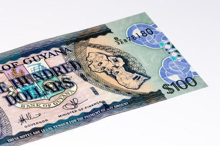 creole: 100 Guyanese dollars bank note. Guyanese dollar is the national currency of Guyana Stock Photo