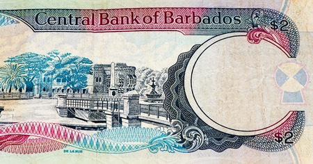 2 Barbadian dollar bank note. Barbadian dollars in the national currency of Barbados Stock Photo