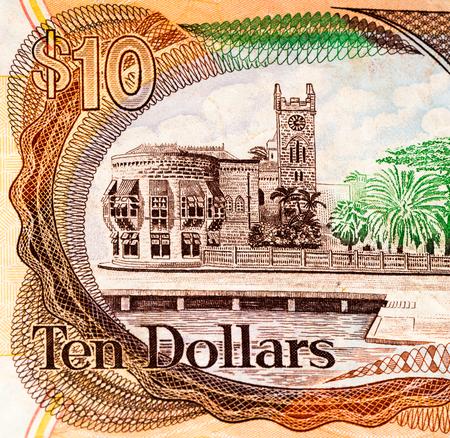 barbadian: 10 Barbadian dollar bank note. Barbadian dollars in the national currency of Barbados