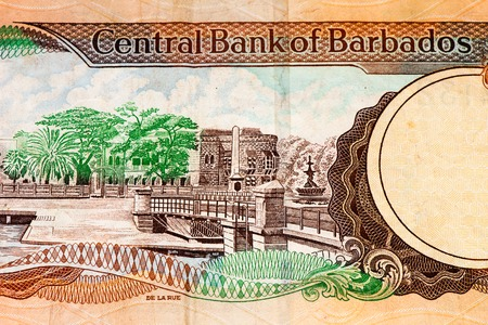 10 Barbadian dollar bank note. Barbadian dollars in the national currency of Barbados