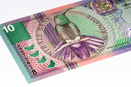 gulden: 10 Surinamese gulden bank note. Gulden is the former currency of Suriname Stock Photo