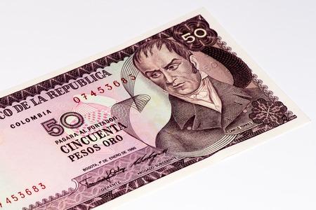 pesos: 50 pesos de oso bank note, Pesos de oro is the national currency of Colombia
