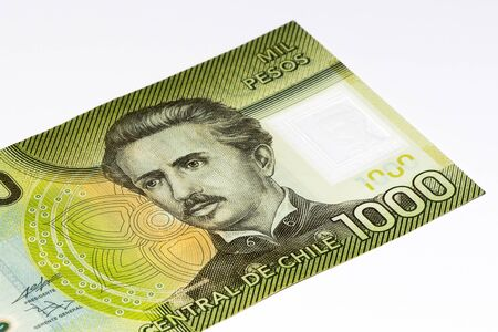 pesos: 1000 Chilean pesos bank note. Chilean peso is the national currency of Chile