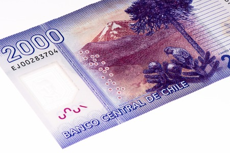 pesos: 2000 Chilean pesos bank note. Chilean peso is the national currency of Chile