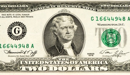 two us dollar: 2 US dollars bank note made in 1976 Stock Photo