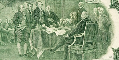 declaration: Signing the declaration of independence on the 2 US dollars bank note made in 1976