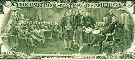 declaration of independence: Signing the declaration of independence on the 2 US dollars bank note made in 1976