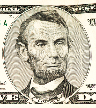 abe: 5 US dollars banknote made in 2003. Abe Linkoln portrait