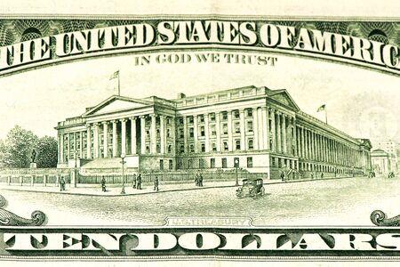 treasury: US treasury on a 10 US dollars bank note made in 1995