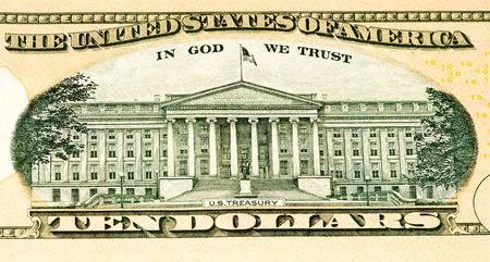 treasury: US Treasury on a 10 US dollars bank note made in 2013