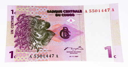Congo: 1 centimes bank note of Congo. Centimes is one of the currencies of Congo