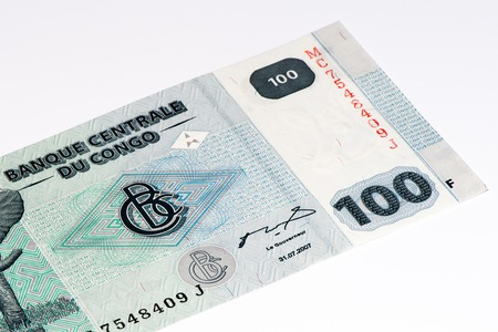 Congo: 100 Congolese francs bank note of Congo. Congoles franc is the national currency of Congo