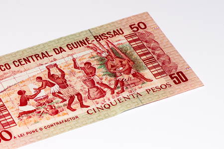 50 pesos bank note of Guine Bissau. Peso is the former currency of Guine Bissau Imagens