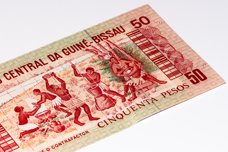 pesos: 50 pesos bank note of Guine Bissau. Peso is the former currency of Guine Bissau Stock Photo