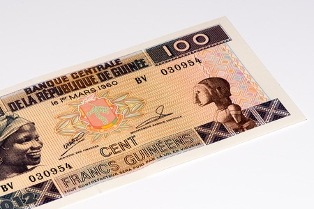 frans: 100 West African francs bank note of Guine Bissau. Frans is the national currency of Guine Bissau Stock Photo