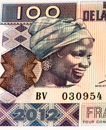 100 West African francs bank note of Guine Bissau. Frans is the national currency of Guine Bissau Imagens