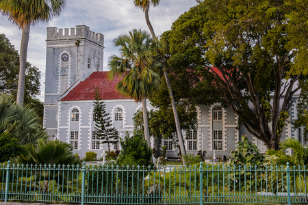 Building in the historic part of Bridgetown, Barbados. Historic Bridgetown and its Garrison is a World Heritage Site of UNESCO. Stock Photo
