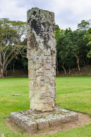 One of the stelas of Copan, an archaeological site of the Maya civilization, Honduras Stock Photo