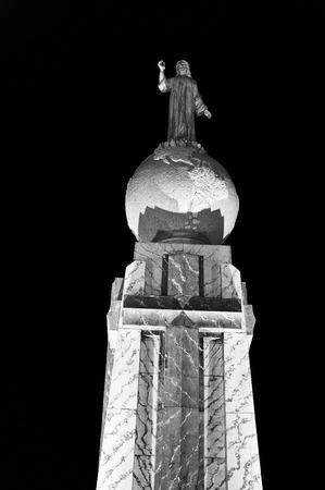 Jesus Christ stutue on the globe (Monument to the Divine Savior of the World), San Salvador, El Salvador