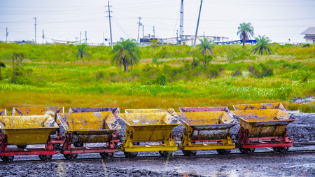 Transport carriages over the Pitch Lake, La Brea, Trinidad and Tobago.