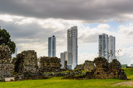 Archaeological Site of Panama Viejo and Historic District of Panama. UNESCO World Heritage. And the cityscape of the Panama City on the background
