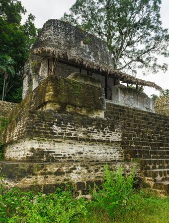 Olaces for living built by mayas, Mundo Perdido, Guatemala