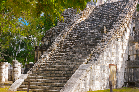 Stairs of the mayan pyramid Chichen Itza, a large pre-Columbian city built by the Maya civilization. Mexico