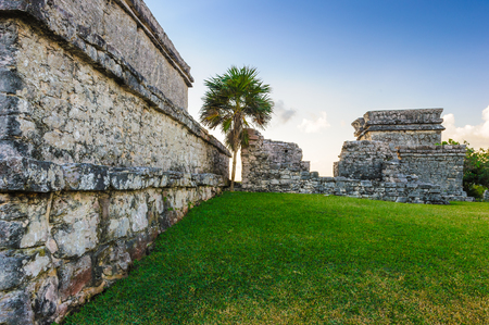 Tulum, typical architecture of Maya sites on the east coast of the Yucatan Peninsula.