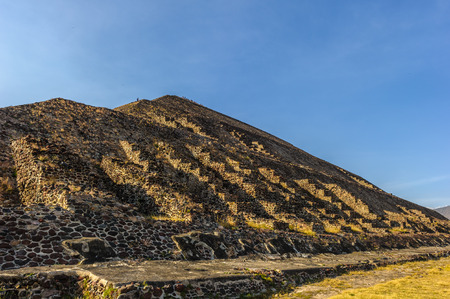 Spectacular view of the Pyramid of the Sun is the largest building in Teotihuacan and one of the largest in Mesoamerica. Stock Photo