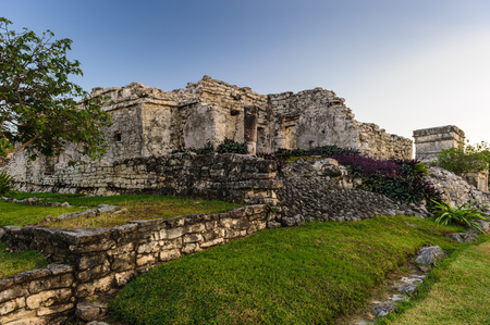 The ruins of mayan city Tulum, situated on cliffs, along the east coast of the Yucatan Peninsula on the Caribbean Sea in the state of Quintana Roo, Mexico