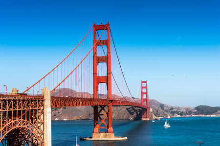 Golden Gate Bridge  between San Francisco Bay and the Pacific Ocean, San Francisco, California, United States of America Banco de Imagens - 84344694