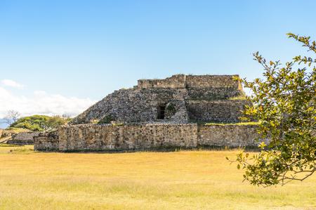 View of Monte Alban, a large pre-Columbian archaeological site, Santa Cruz Xoxocotlan Municipality, Oaxaca State.  UNESCO World Heritage Stock Photo