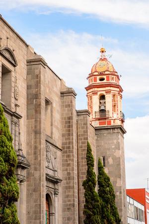 colonial church: Church in Puebla, Mexico. Stock Photo