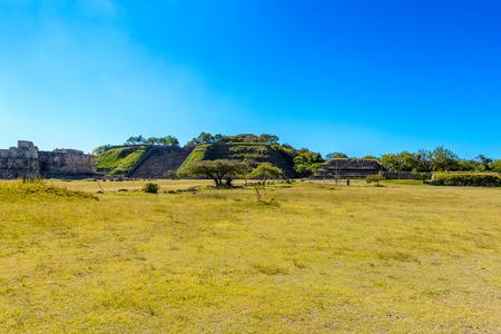 View of Monte Alban, a large pre-Columbian archaeological site, Santa Cruz Xoxocotlan Municipality, Oaxaca State. Stock Photo