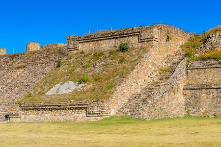 Stairs of the North Platform of Monte Alban, a large pre-Columbian archaeological site, Santa Cruz Xoxocotlan Municipality, Oaxaca State.  UNESCO World Heritage