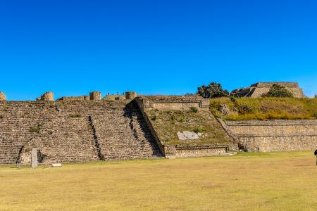 Building of the Monte Alban, a large pre-Columbian archaeological site, Santa Cruz Xoxocotlan Municipality, Oaxaca State.  UNESCO World Heritage