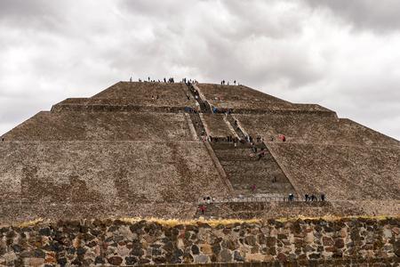 Sun Pyramid (Piramide del Sol) van Teotihuacan, het was een oude Meso-Amerikaanse stad. UNESCO werelderfgoed
