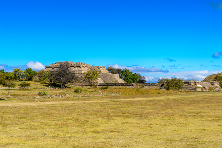 Pyramid of Monte Alban, a large pre-Columbian archaeological site, Santa Cruz Xoxocotlan Municipality, Oaxaca State.  UNESCO World Heritage